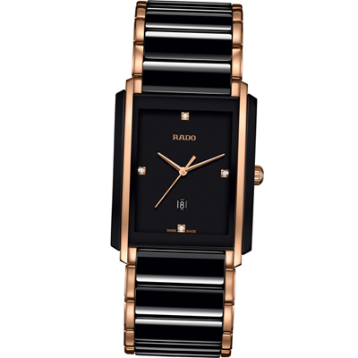 RADO Integral 精密陶瓷系列腕錶-黑x玫瑰金色/31mm