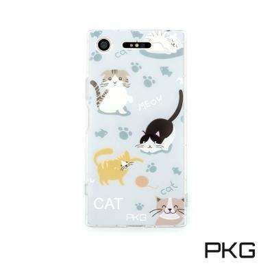 PKG SONY XZ1彩繪空壓氣囊保護殼浮雕彩繪-玩耍貓