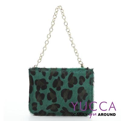 YUCCA -牛皮+馬毛動物紋零錢鑰匙包-綠色14190006099