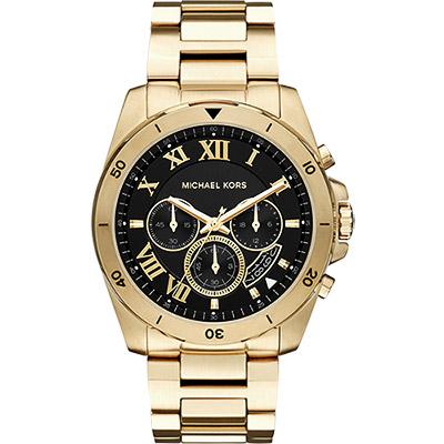 Michael Kors 雅爵羅馬計時錶-黑x金/44mm