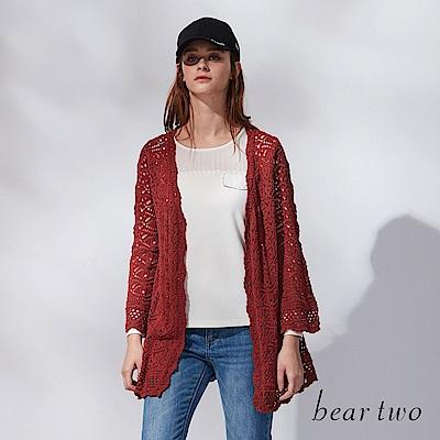beartwo 網路獨家-鏤空雕花針織長版罩衫(二色)
