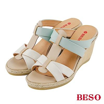 BESO清夏涼感 全真皮交叉編織撞色露趾楔型涼拖鞋~白