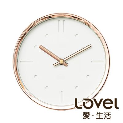 Lovel 16cm 典雅玫瑰金框靜音時鐘-共3款