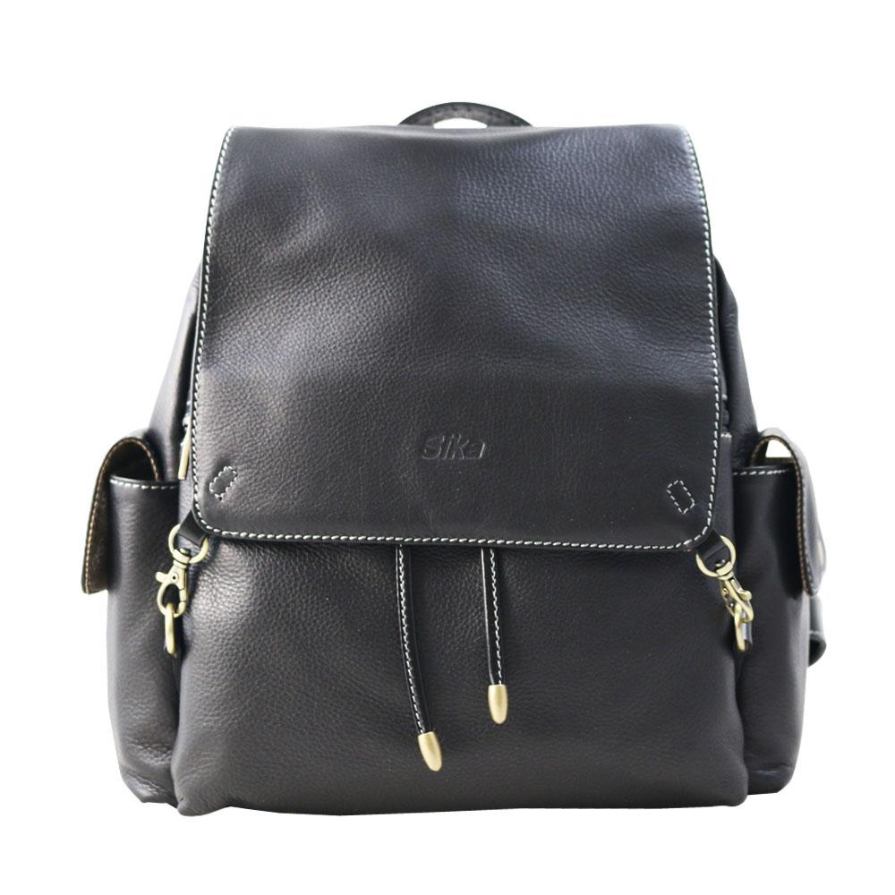 Sika義大利牛皮後背包L6172-03黑色