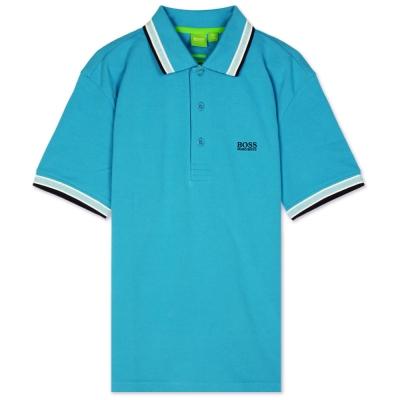 HUGO BOSS 綠標滾邊線素面POLO男衫(天藍)