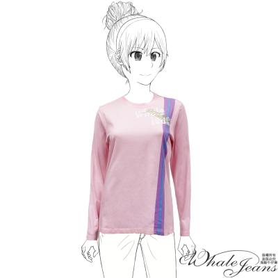 WHALE JEANS 青春活力洋溢休閒運動風格圓領T恤_粉紅