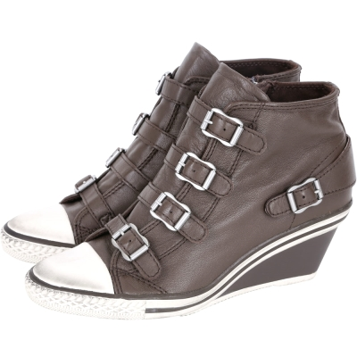 ASH GENIAL 經典羊皮釦帶楔型休閒鞋(咖啡色)