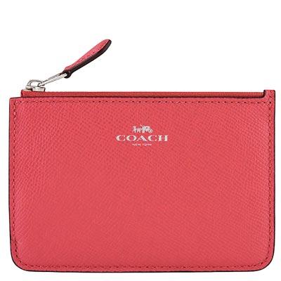 COACH-蜜桃色馬車防刮皮革鑰匙零錢包