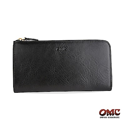OMC 原皮系列-植鞣牛皮L型單拉鏈18卡透明窗多格層零錢長夾-黑色