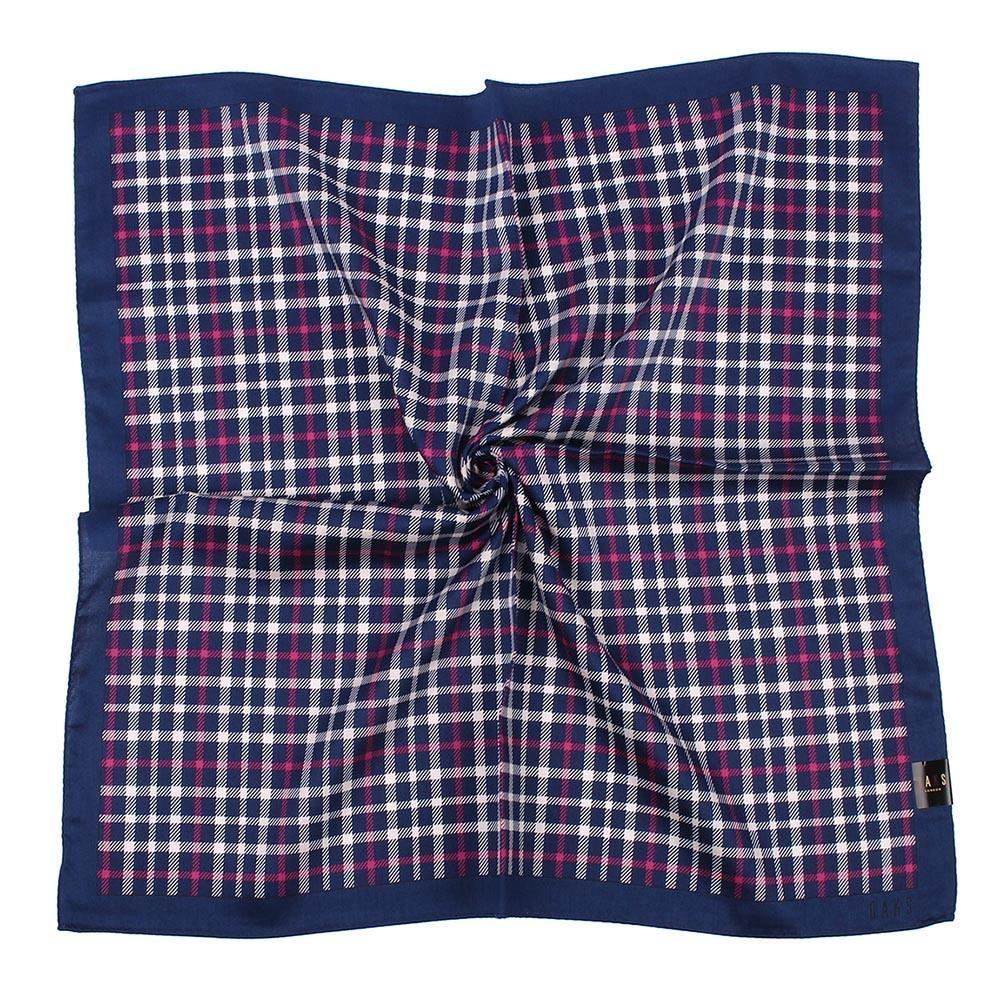 DAKS 英倫風經典直格純棉帕領巾-靛藍色