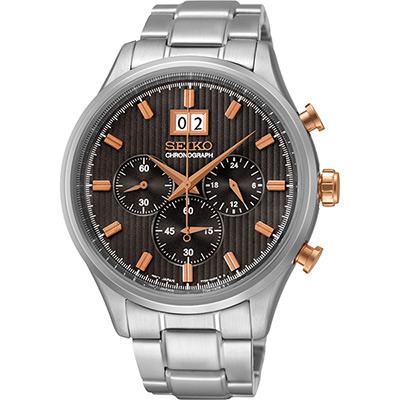 SEIKO CS 爵士大日期視窗計時腕錶(SPC151P1)-黑灰/42mm