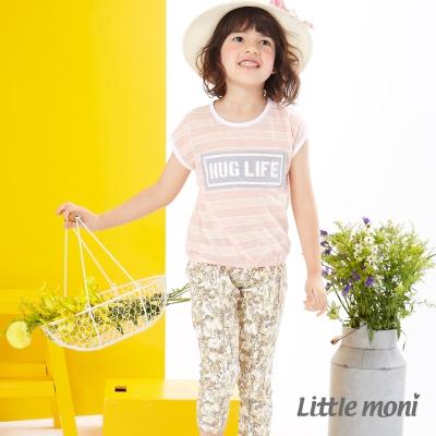 Little moni 時尚印花彈性合身褲 橄欖綠