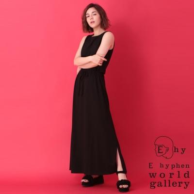 E hyphen  素面口袋腰綁結無袖背心洋裝/長裙