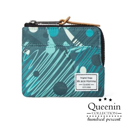 DF Queenin皮夾 - 普風湖水綠單拉鍊零錢包式短夾