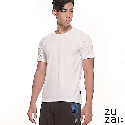 zuzai 自在輕感瞬乾 圓領排汗衫-男-白色