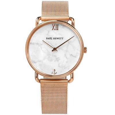 PAUL HEWITT 大理石紋藍寶石水晶船錨編織不鏽鋼手錶-灰白x鍍玫瑰金/33mm