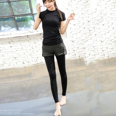 運動褲-超滑順假二件式瑜珈褲路跑加大褲-加大單褲子