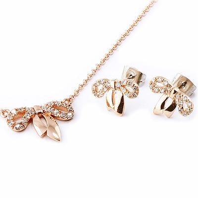 【山本美樹】真愛蝴蝶結 奧地利水晶鑽項鍊針式耳環套組(共兩色)