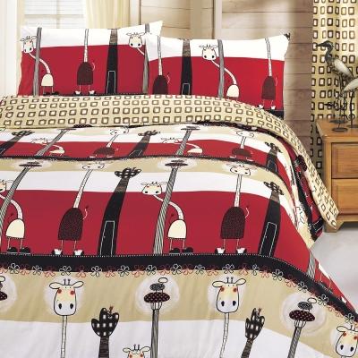 鴻宇HongYew 100%美國棉 防蹣抗菌-歡樂長頸鹿 雙人床包枕套三件組