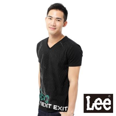 Lee-短袖T恤-V領混合圖案印刷-男款-黑