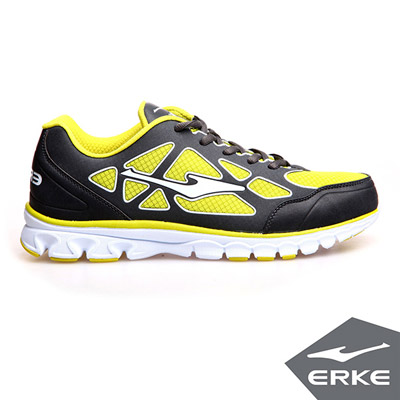 ERKE 鴻星爾克。男運動綜訓慢跑鞋-碳灰/果綠