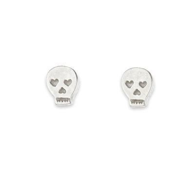 Dogeared 經典骷髏頭 Skull 銀色耳環 附原廠盒