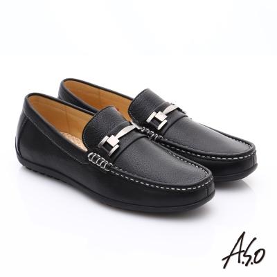 A.S.O 輕量抗震 真皮經典飾釦奈米樂福鞋 黑色
