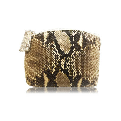 ACUBY-限量單品手工蟒蛇皮零錢包-豹紋灰