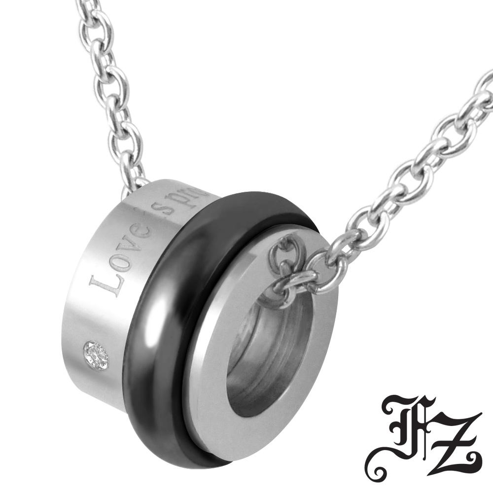 FZ  幸福旋轉白鋼項鍊(黑)