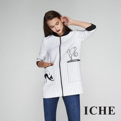 ICHE衣哲 波點手繪印花拼接拉鍊長版造型外套-白