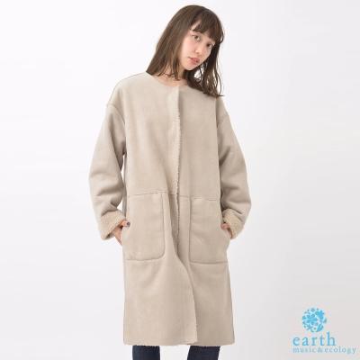 earth music 溫暖內鋪毛口袋長版外套/大衣