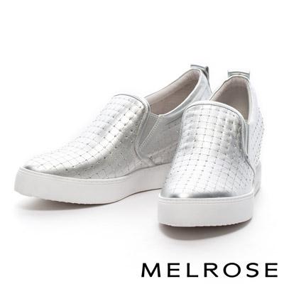 MELROSE-激光排鑽造型全真皮內增高厚底休閒鞋-銀