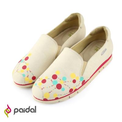 Paidal幾何圓點密碼輕運動休閒鞋樂福鞋-粉裸膚