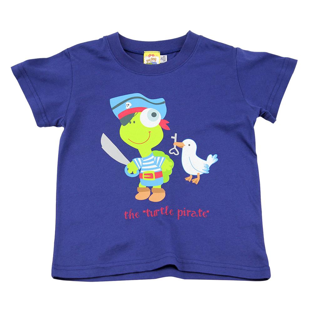愛的世界 MYBABY 純棉圓領海盜印圖短袖T恤/2~4歲