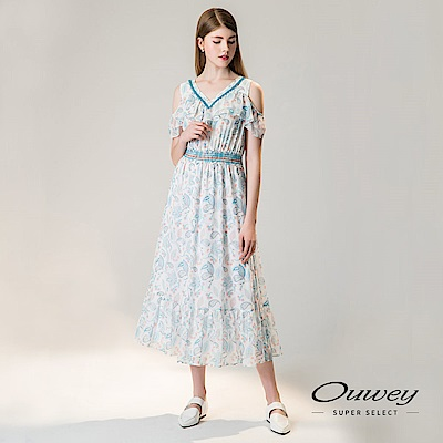 OUWEY歐薇 民俗風印花挖洞露肩長版洋裝(白)