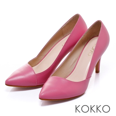 KOKKO經典再現時髦尖頭斜切高跟鞋甜心桃