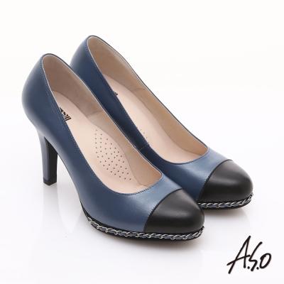 A.S.O 優雅時尚 珠光真皮雙色鍊帶高跟鞋 藍