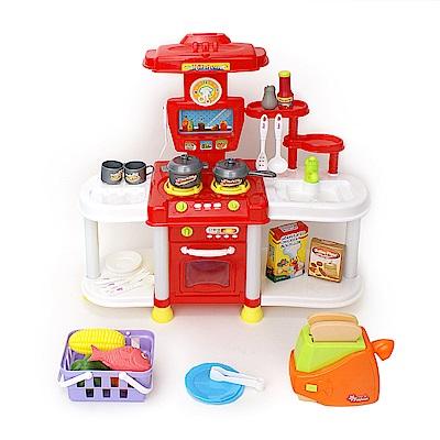 家家酒玩具 聲光廚具組 附土司機 紅色 666B