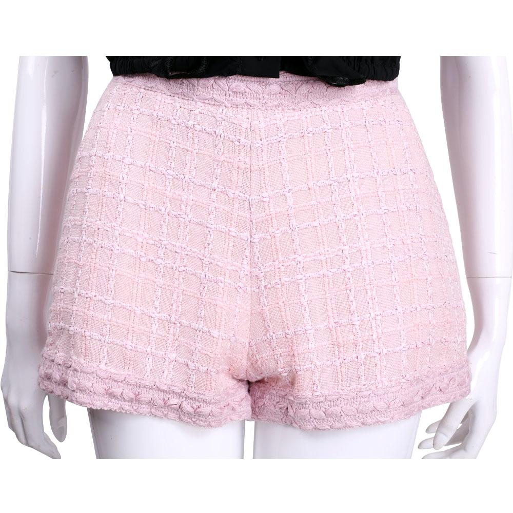 EDWARD ACHOUR PARIS 粉色格子織花設計短褲