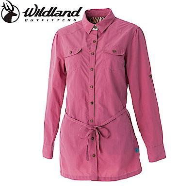 【Wildland 荒野】女抗UV時尚長版襯衫-深粉紅色