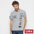 EDWIN 街頭圖騰短袖T恤-男-麻灰