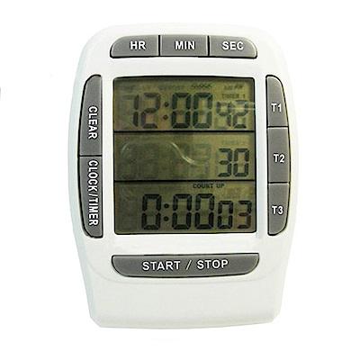 PUSH!嚴選 三組同步顯示倒正數計時器時鐘碼錶B18