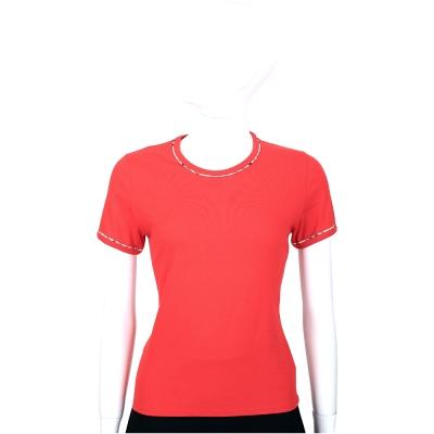 BURBERRY 紅色格紋滾邊設計短袖上衣