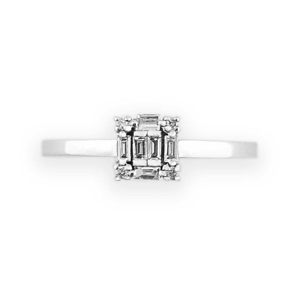 JewCas Carre系列10K金鑽石戒指
