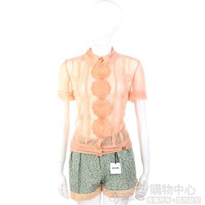 CLASS roberto cavalli 粉橘色蕾絲花飾排釦短袖上衣