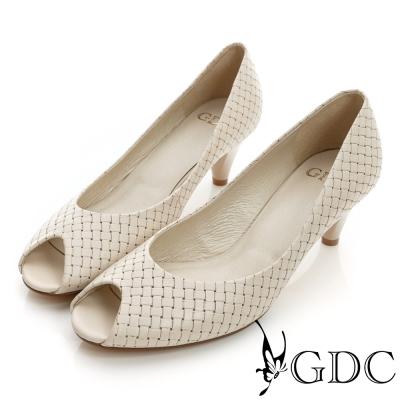 GDC都會-經典編織魚口真皮低跟鞋-可可色