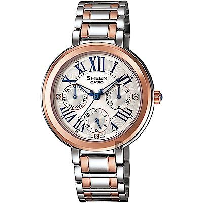 CASIO卡西歐 SHEEN 羅馬晶鑽日曆手錶-銀x雙色版