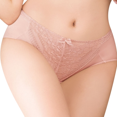 思薇爾 舒棉BRA系列M-XXL蕾絲中腰三角內褲(粉陶膚)