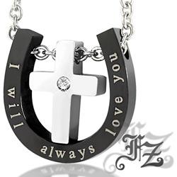 【FZ】十字愛戀白鋼項鍊(黑)