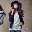 Victoria 毛呢短版羅紋外套-女-黑色